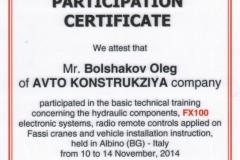 Сертификат - ремонт, техническое обслуживание гидравлических компонентов, электронных систем, перевод в режим радиоуправления манипуляторов Fassi