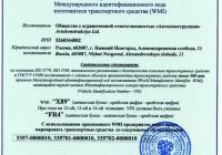Международный идентификационный код изготовителя транспортного средства WMI на основании ISO 3779, ISO 3779, ГОСТ Р 51980